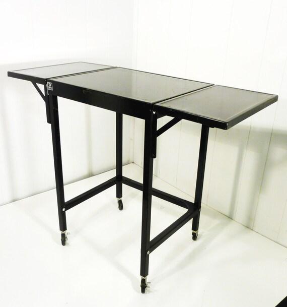 Vintage industrial black paint metal table cart two drop for Industrial paint for metal