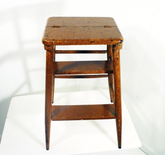 chippy paint kitchen step stool ladder wooden