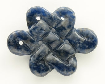 Celtic Knot - carved Sodalite large pendant . dark blue celtic stone knot . mystic knot