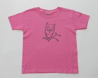 Kids Medium T-Shirt - Screen Printed Sweet Owl