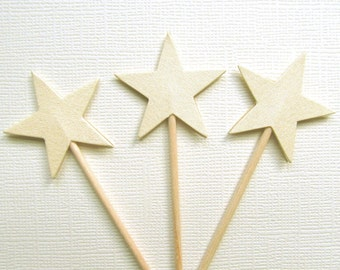 Gold Star Cupcake Toppers, Party Decor, Weddings, Birthdays, Shimmer, Pearlized, Patriotic, Set of 15