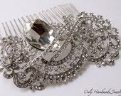 Exquisite Handmade Bridal silver crystal hair comb. Royal wedding hair piece. Bridal accessory. Wedding crystal hair accessory