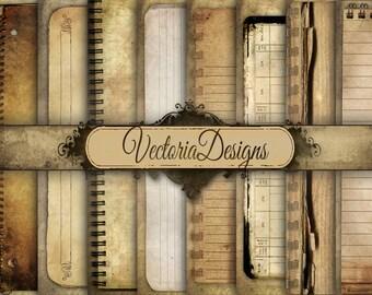 Grunge Notebook Digital Paper 8.5 x 11 inch paper pack digital paper vintage digital graphics instant download Digital Collage Sheet VD0439
