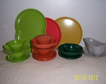 1960's Melmac Mix And Match Dinnerware Set By Branchell- Retro 21 Piece Dinner Set - Plastic Dinner Set Made In USA