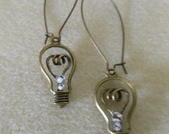 Bright Ideas/light bulb charm earrings/pierced