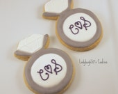 12 Diamond ring cookies, handmade & iced