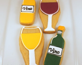 Wine bottle and wine glass cookies, 12 handmade & iced