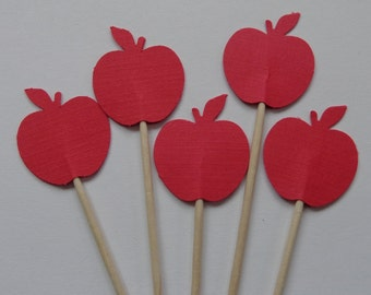 24 Red Apples Food Picks - Cupcake Toppers - Party Picks