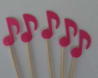 24 Pink Music Note Food Picks - Cupcake Toppers - Party Picks