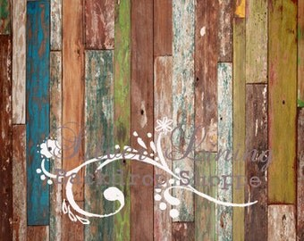 NEW PRICE 5ft x 8ft foot VINYL Photography Backdrop  - Funky Scuffed Wood
