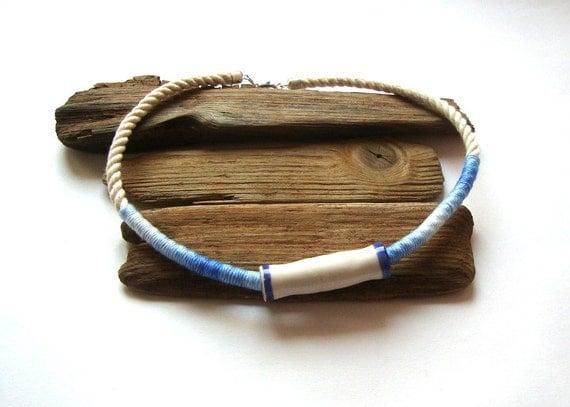 Nautical necklace / rope necklace / eco style / aqua /sailor necklace / summer
