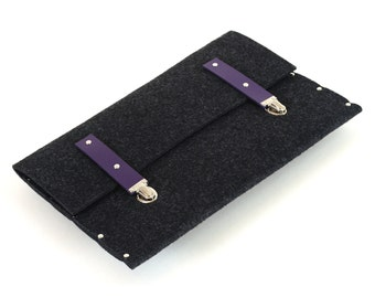 MacBook 13 Retina Sleeve Cover Case Briefcase Bag industrial black felt with violet leather straps