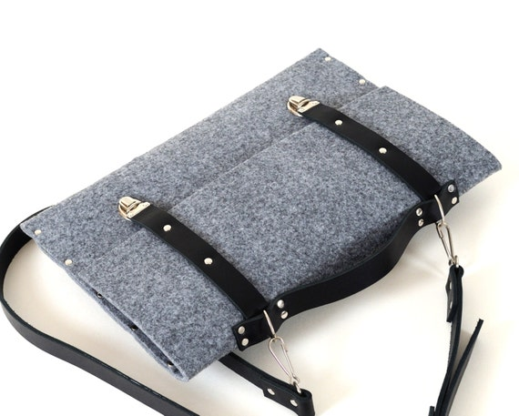 MacBook 13 Pro or Air case briefcase grey felt cover with black leather straps handle and shoulder strap