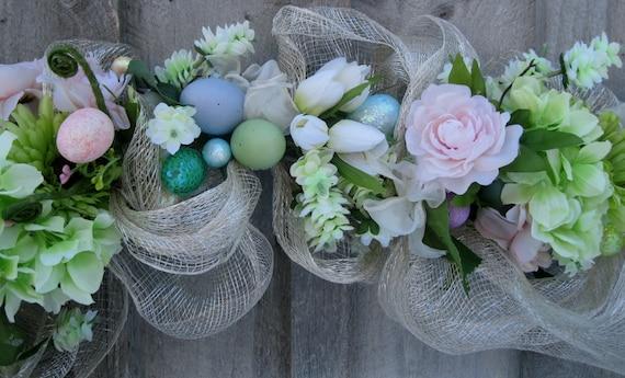Easter Garland Spring Swag Floral Garland Pastel Eggs