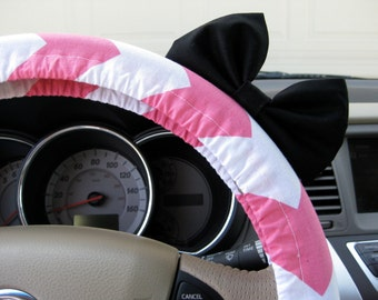 Steering Wheel Cover Bow, Amaranth Pink and White Chevron Steering Wheel Cover with Black Bow, Pink Chevron Wheel Cover Black Bow BF11116