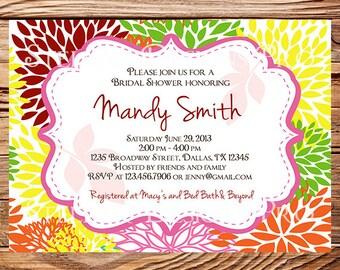 Bridal shower Invitation,wedding shower Invitation,Floral Wedding Shower Invitation,Invite, green, digital, printable file, 5156