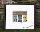Wedding Date Guest Book, Colored Number Photo Art Wedding Guest Book - Personalized with Established number photography - Brown Frame