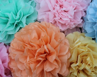 15 Pom Poms- Pick Your Colors- wedding decorations/ photography prop/ holiday party decorations/ Valentine's Party Decorations