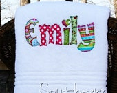 Applique Name Towel Personalized Bath Towel Great Gift for Kids Bridesmaid Graduation Hostess Christmas