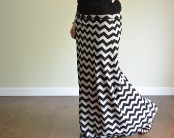 Custom Maxi Skirt, Chevron Print in Black & Gray, Women's Long Maternity - Kamiann