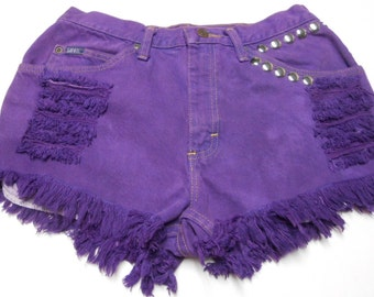 Waist  29 inches  ---Ready to Ship----Vintage  LEE Purple Hand Dyed Studded  Shorts