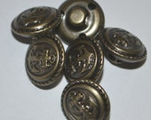 """Navy club suit or vest buttons, metal, antique silver finish, military style, 5/8"""", new, Made in Italy"""