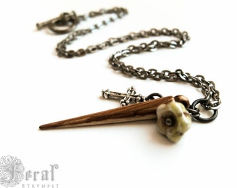 Vampire Slayer Stake and Cross Necklace in Gunmetal. Buffy Slayer Steampunk. Mister Pointy.