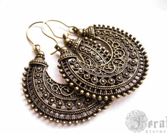 Tribal Hoops in Brass for the Gypsy Fusion Belly Dancer. Bohemian Statement Earrings.