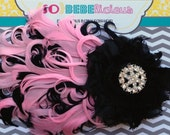 READY TO SHIP Black & Pink Curly Feather Headband Shabby Flower bridal rhinestone baby girl photography prop one size fits most 4 months pl