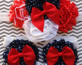 CLEARANCE American Baby Girl 4th of July Red Bow Patriotic Princess Shabby Headband Barefoot Sandals 0-3 3-6 6-12 12-18 months white