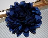 Navy Blue  Fabric flower  -  4''  large silk navy blue fabric flower - flat back  Dahlia Silk Flower