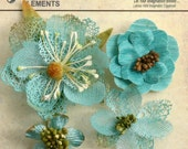 Teal Aqua Blue  flowers - beautiful textured blossom with  embellished centers  (4pcs) - vintage rustic embellishment flowers - 1256-205