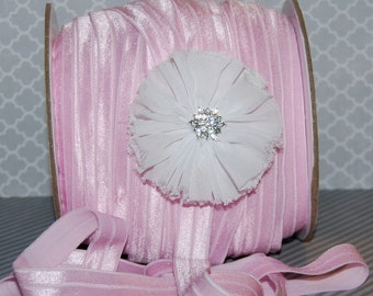 "Light Pink Fold Over Elastic - Shiny FOE 5/8"" inch  Baby Headbands  Hair Ties  Satin Elastic Soft stretch - 5 yards - Elastic FOE 15mm wide"