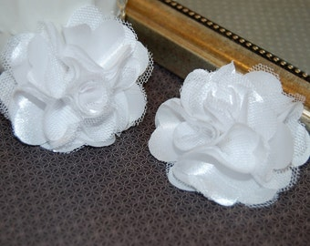 White Flowers - Small 2.5''  Satin mesh  fabric flowers (2 pcs) - use for hair flower shoe clip flower headband flowers bridal wedding