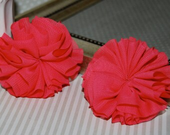 "Set of 2 Chiffon ballerina Double Ruffle Unfinished Flowers - 2.5"" Coral chiffon twirl pleated tutu fabric flowers shoe hair headband"