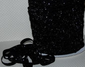 "Glitter Elastic Black Fold Over Elastic FOE 3/8"" 10mm black B-7 Skinny Glitter Headbands Hair Ties Satin Elastic 5 yds Sparkle Elastic Trim"