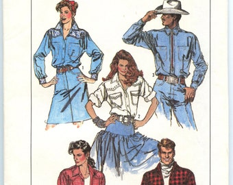 1980s Simplicity 8178 Unisex Loose-Fitting Western Shirt Cowboy Cowgirl Rodeo Size Small UNCUT