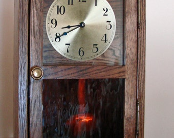 Solid Oak Mission Style Clock with Quartz Pendulum