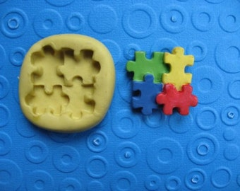 PUZZLE mold puzzle piece mold  autism awareness mold FLEXIBLE  silicone food safe mold jigsaw puzzle mold fondant chocolate candy soap wax