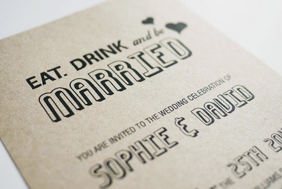 Wedding Invitations Eat Drink And Be Married: Eat. Drink And Be Married Fun Wedding Invitation By