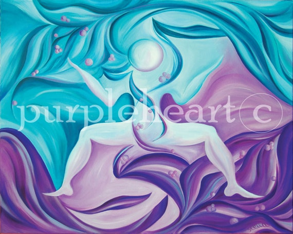Yoga Art GODDESS - fine art giclee from original oil painting, yoga wall decor