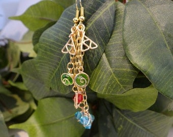 Triple Chain L.O.Z.® Inspired Earrings with Spiritual Stones and Triforce