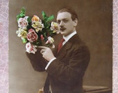 French postcard Man Sepia 1918 Hand tinted
