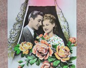 Vintage French postcard Couple with Roses