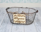 "Rustic Wedding ""Programs"" Sign WITH WIRE BASKET  for Your Rustic, Country, Shabby Chic Wedding- Ready to Ship"