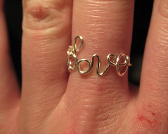Wire Wrapped LOVE Spelled Ring MADE to ORDER Adjustable