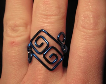 Wire Wrapped All Color Adjustable Square Spiral Ring MADE to ORDER