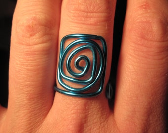 Wire Wrapped Spiral and Rectangular MADE to ORDER Ring