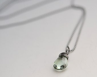 Green Amethyst Necklace - Oxidized Sterling Silver Necklace - Mint Green Necklace - Gift