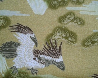 SALE - Eagle in Japanese style, gold beige, fat quarter, pure cotton fabric